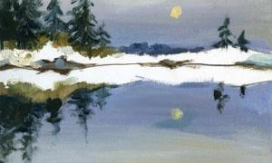樹木與在湖面上的倒影油畫高清圖片