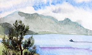 湖光山色亂石風景水彩繪畫高清圖片