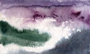 霧氣籠罩下的山林風景繪畫高清圖片