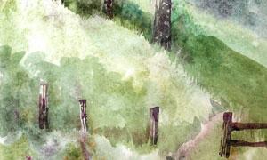 山坡上的樹林風景繪畫創意高清圖片