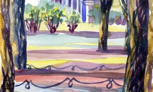 建筑物與樹木水彩繪畫創意高清圖片