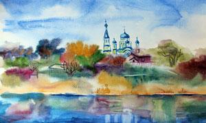 城堡與水邊茂密的樹叢繪畫高清圖片