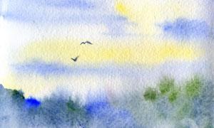 翱翔在山野中的小鳥水彩畫高清圖片