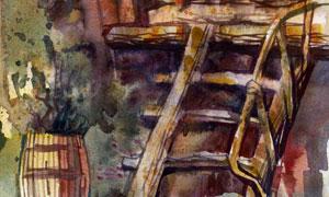 木桶與帶梯子的小屋水彩畫高清圖片