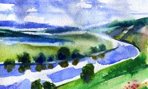 藍天白云山野河流風景繪畫高清圖片