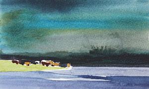濃墨重彩的風景畫創意設計高清圖片