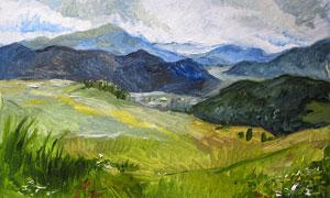 崇山峻嶺植被風光油畫創意高清圖片