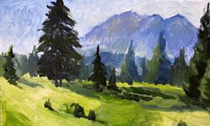 高山與山坡之上的樹木油畫高清圖片