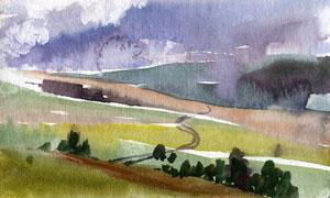 潑墨創意山野自然風景繪畫高清圖片