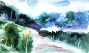 青山郁蔥樹木風景水彩繪畫高清圖片