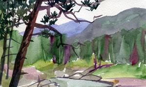 高山流水樹木風景水彩繪畫高清圖片