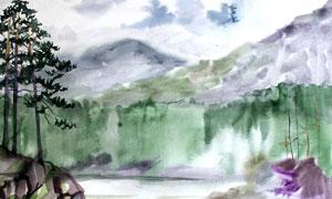 山巒河流水彩繪畫創意設計高清圖片