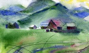 山腳下的村莊風光繪畫創意高清圖片