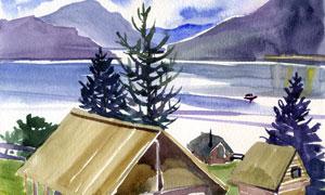 山峰與湖邊的小木屋水彩畫高清圖片