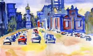 城市建筑物與小汽車水彩畫高清圖片
