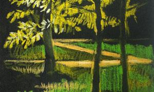 樹木草地與小路風景粉筆畫高清圖片