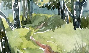 樹林中的一條小路風光繪畫高清圖片