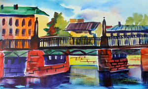 在河面上的橋梁風光水彩畫高清圖片