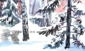 落滿積雪的樹木水彩畫創意高清圖片