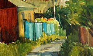 路兩邊的小屋樹木油畫主題高清圖片