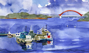 橋梁與海上的船只風景繪畫高清圖片