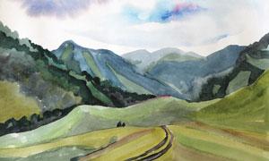 山間小路與連綿的山巒繪畫高清圖片