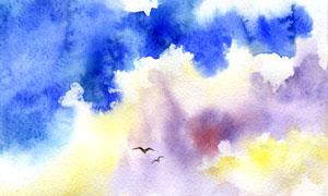 空中飛翔的小鳥水彩畫創意高清圖片