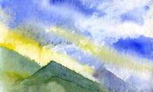 黃昏日落山巒風景水彩繪畫高清圖片