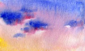 天空日落多云水彩繪畫設計高清圖片