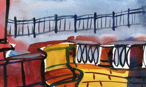 花崗巖堤壩與護欄等水彩畫高清圖片