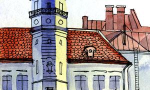 高樓城堡與房子水彩畫創意高清圖片