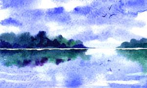 天空云彩湖光山色水彩繪畫高清圖片