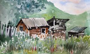 山腳下的花叢小屋水彩繪畫高清圖片