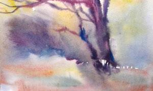 秋冬季節荒涼大樹水彩繪畫高清圖片
