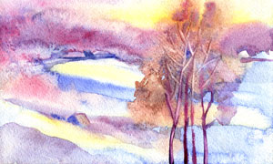 黃昏晚霞大樹風景水彩繪畫高清圖片
