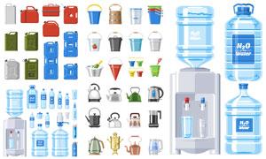 水壶水桶与瓶装饮用水主题矢量素材