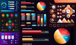 缤纷多彩数据可视化图表等矢量素材