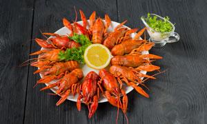 原味清蒸小龙虾美食摄影图片