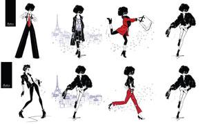 黑色红色时尚服饰模特插画矢量素材
