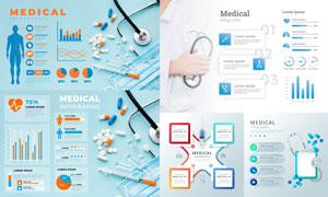 医疗卫生主题数据信息图表矢量素材