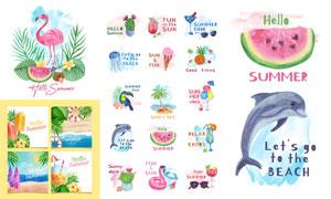 西瓜椰树与火烈鸟等水彩元素矢量图