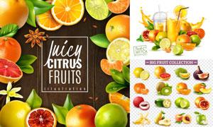 柠檬桔子与榴莲苹果等水果矢量素材