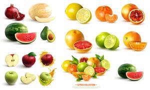 西瓜石榴与柠檬等质感水果矢量素材
