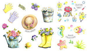 花朵动物与机器人水彩创意矢量素材