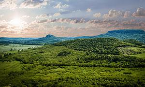 清晨绿色山丘美景摄影图片
