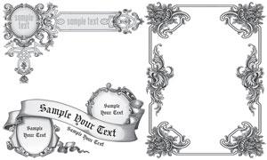 黑白复古风格飘带花纹边框矢量素材