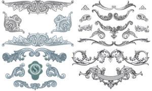 复古装饰素描花纹边框主题矢量素材