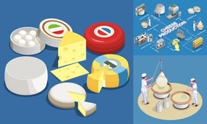 芝士产品制作与衍生品主题矢量素材