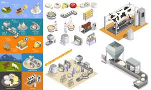 工厂化生产奶酪与人物主题矢量素材