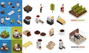扁平化咖啡产业链等距模型矢量素材